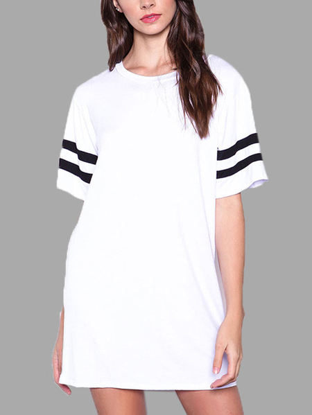 White Stripes Casual Mini Dress