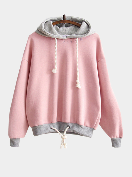 Pink Letter Embroidery Pattern Hoodie with Drawstring Hem