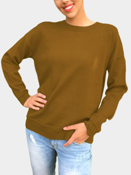 Brown Lace-up Back Design Crew Neck Sweater