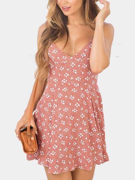 V-neck Random Floral Print Mini Slip Dress in Pink