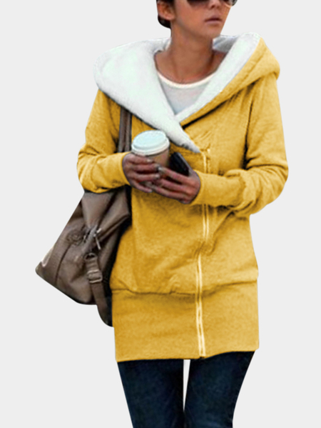 Yellow Hooded Design Long Sleeves Outerwear