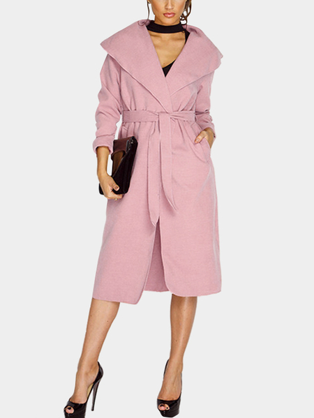 Pink Lapel Neck Self-tie Design Maxi Outerwear