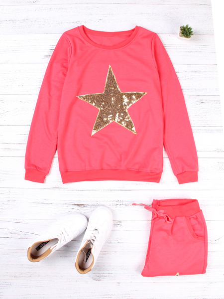 Red Sequins Embellished Letter Round Neck Long Sleeves Two Piece Outfits