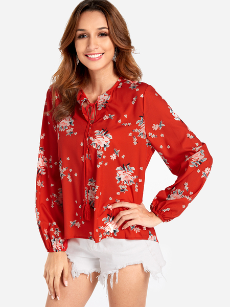 Red Long Sleeve Button Down Floral Top