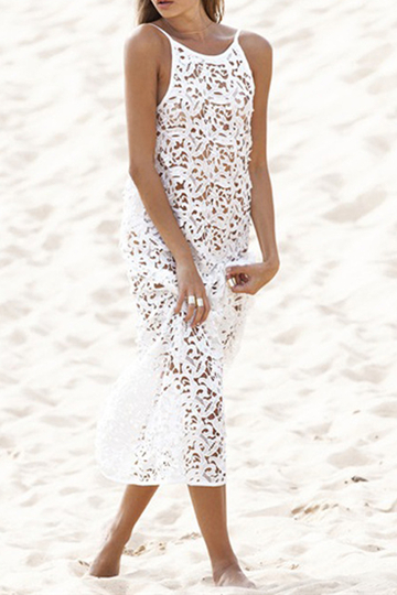 White Lace Detail Sexy Style Round Neck Halter Sleeveless Maxi Dress