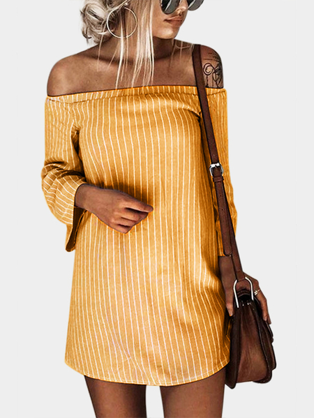 Yellow Sexy Off Shoulder Lace Up Stripe Pattern Mini dress