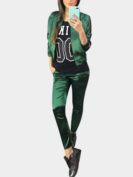 Active Causal Style Elastic Waist Sports Tracksuit in Green