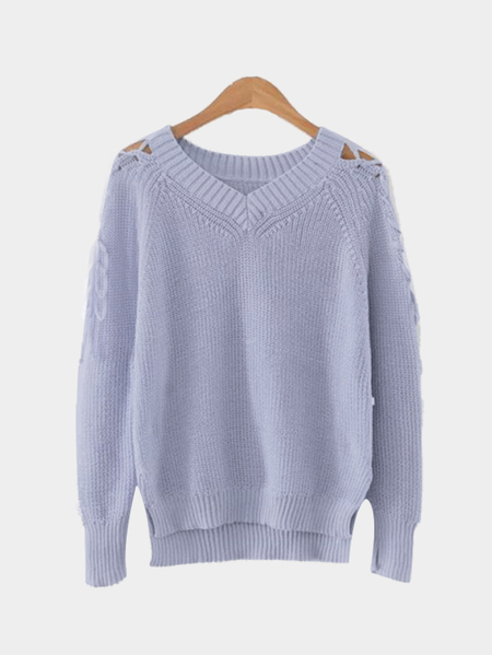 Light Blue V-neck Lace-up Long Sleeves Irregular Hem Sweater