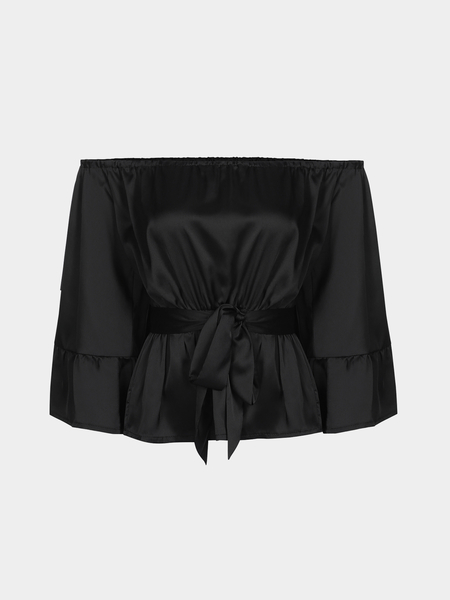 Black Off Shoulder Ruffled Hem Shirt
