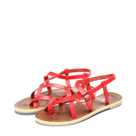 Red Crossing Strap Flat Sandals