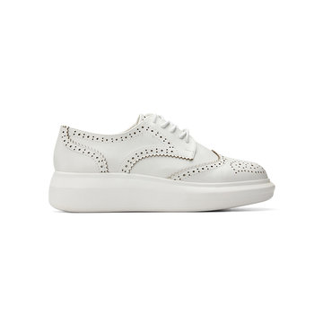 White Leather Look Round Toe Carving Lace-up Paltform Sneakers
