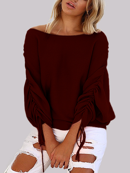 Burgundy Lace-up Design One Shoulder Long Sleeves Sweaters