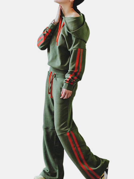 Active Round Neck Stitching Design Elastic Tracksuit in Green