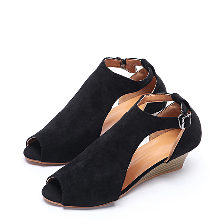 Black Peep Toe Wedge Design Sandals