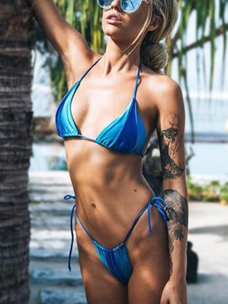Blue Colorblock Lace-up Sexy Swimwear Bikini Set