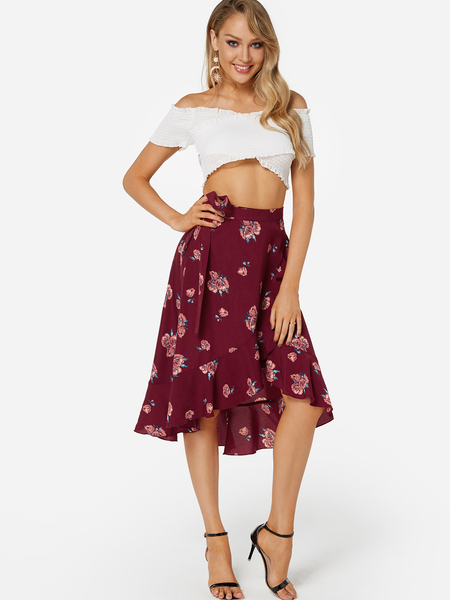 Elastic Cross Over Ruched Crop Top & High-waist Floral Midi Skirts Two Piece Outfits