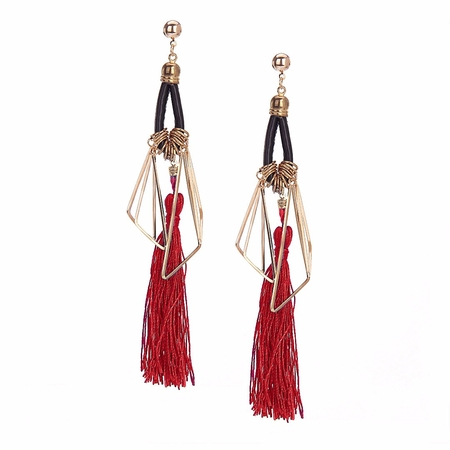 Burgundy Vintage Long Tassel Earrings