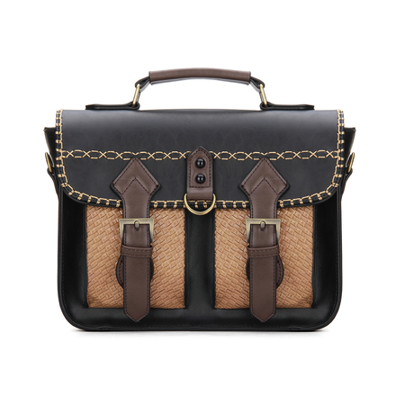 Black Batchel Bag with Contrast Trims and Magnetic Closure