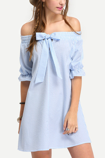 Off Shoulder Stripe Pattern Self-tie Bowknot Front Mini Dress