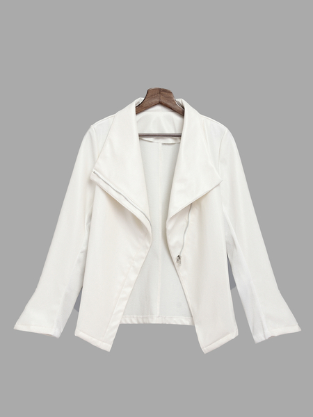 White Lapel Leather Bodycon Biker Jacket