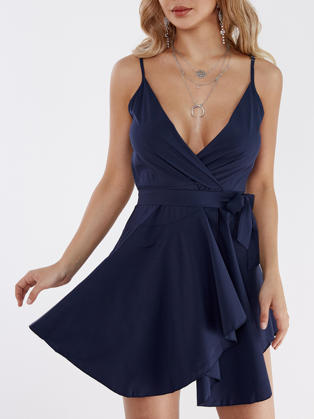 Navy Crossed Front Design V-neck Sleeveless Middle-waisted Dress