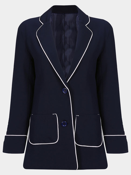 Navy Fashion Long Sleeves Collar Button Closure Blazer