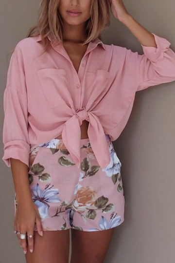 Turndown Collar Side Pockets Shirts in Pink