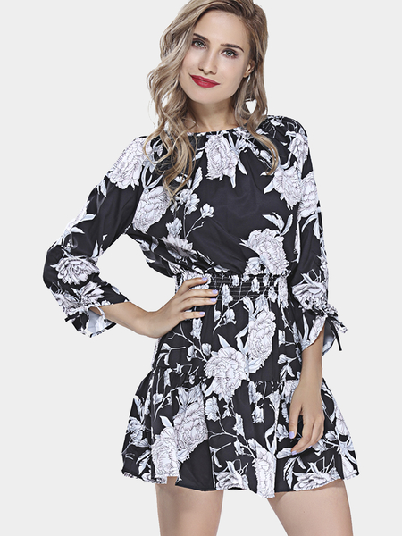 Black Mini Dress in Floral Print