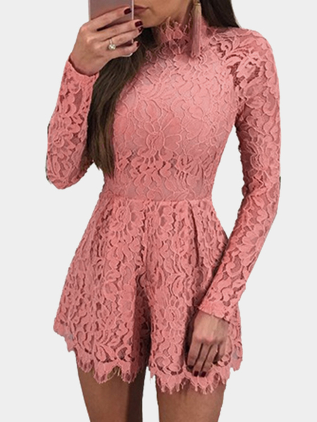 Pink Lace Details Open Back Eyelash Trim Sexy Playsuits
