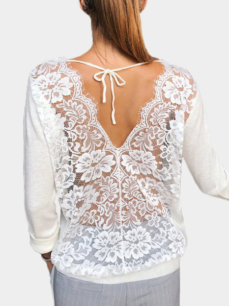 White See-through Floral Lace Back Long Sleeves T-shirt