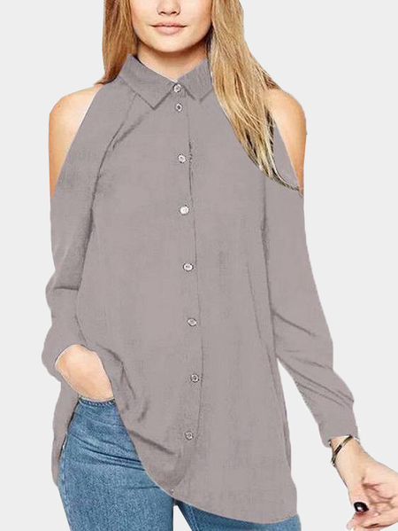 Grey Cold Shoulder Shirt Blouses