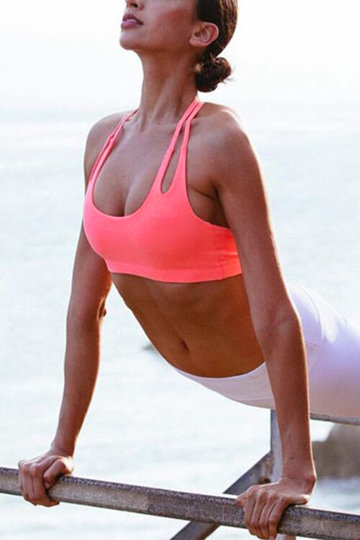 Neon Pink Backless Sports Bra with Padded Chest