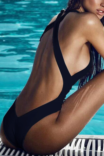 Black Backless Swimwear with Padded Chest