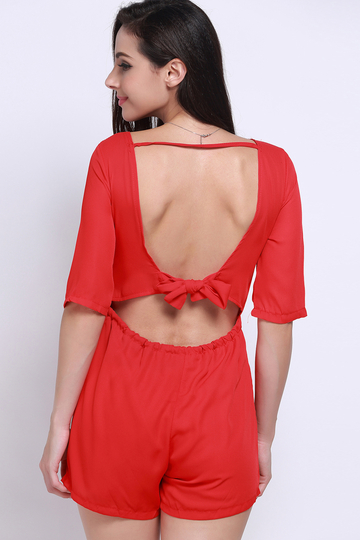 Red Drawstring Waist Backless Lace-up Playsuit