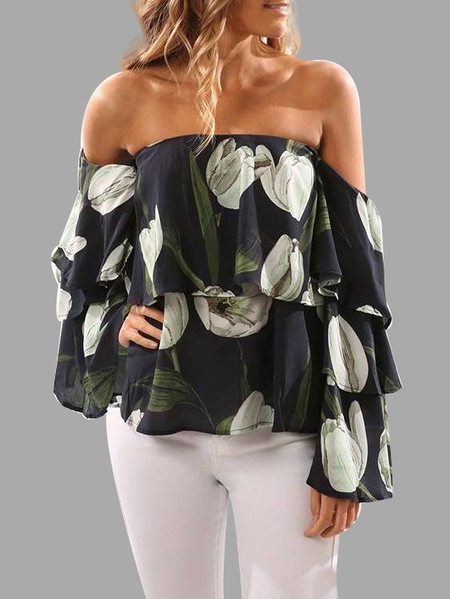 Green Tulip Print Off-The-Shoulder Top