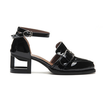 Black Leather Look Ankle Strap Hollow Heel Buckle Shoes