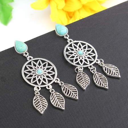 Vintage Style Alloy & Turquoise Geometric Patterns Drop Earrings