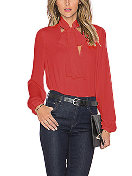 Red V-neck Long Sleeves Self-tie Top