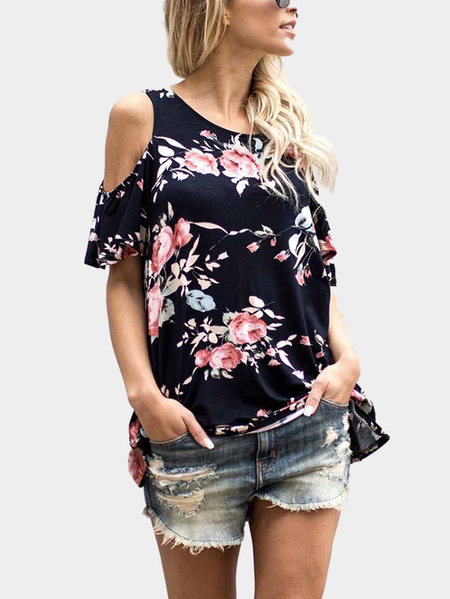 Random Floral Print Cold Shoulder T-shirt in Black