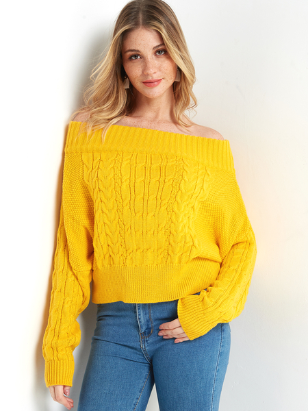 Yellow Off-The-Shoulder Cable Knit Sweater