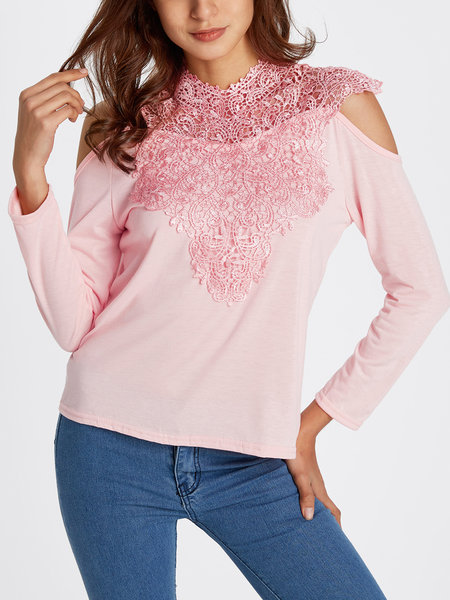 Pink Lace Details Cold Shoulder Long Sleeves Sexy T-shirt