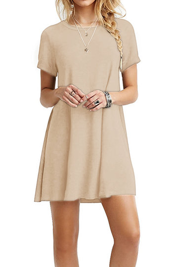 Khaki Round neck Mini Dress