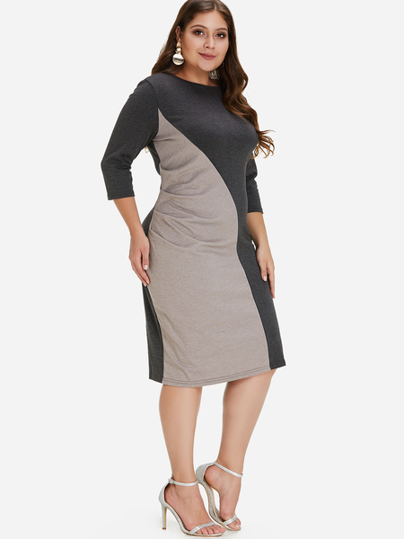 Plus Size Color Block Ruched Midi Dress