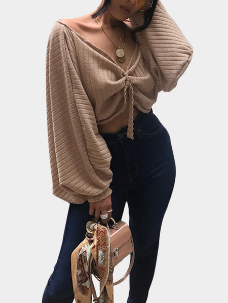 Khaki Rib Off Shoulder Lantern Sleeves Crop Top with Self Tie