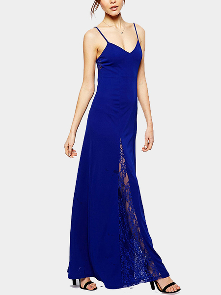 Blue Lace Stitching Backless Cami Maxi Dress
