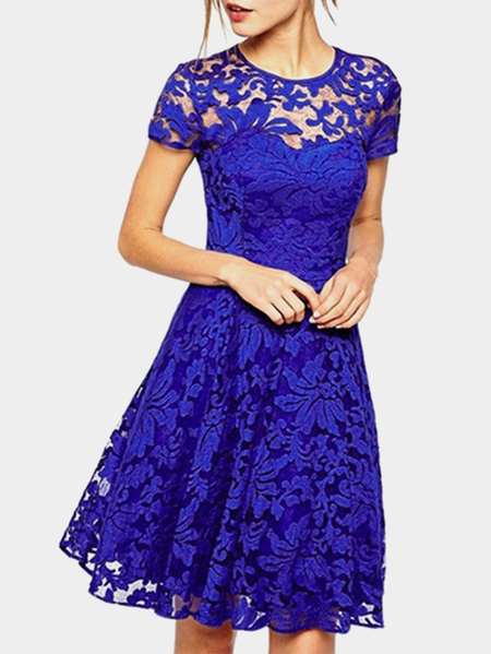 Blue Lace Details Round Neck Short Sleeves Mini Dress with Lined