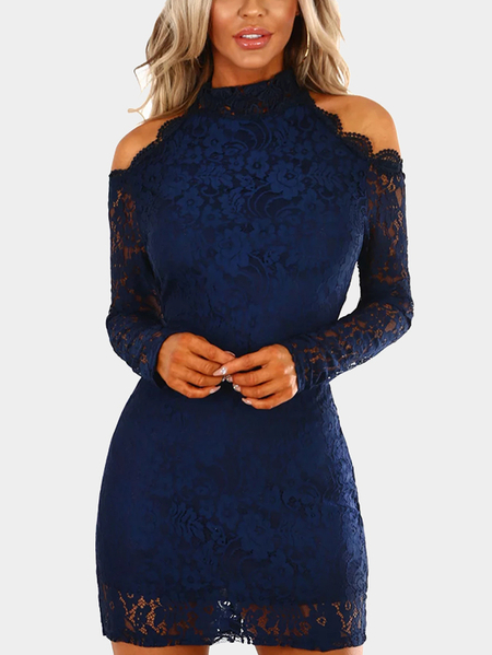 Navy Lace Detail Cold Shoulder Long Sleeves Mini Dress