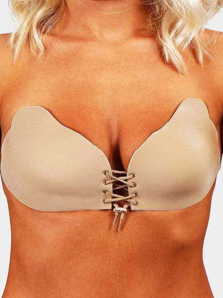 Camel Raelyn Stick en Backless Lace-up Seamless Strapless bajo sujetador de elevación
