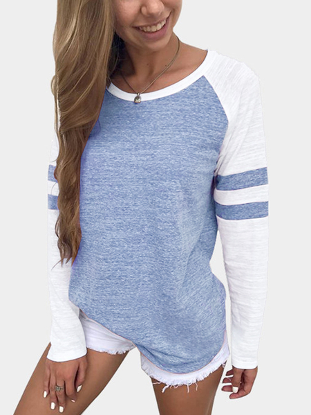 Blue Stripe Colorblock Round Neck Raglan Sleeves T-shirts