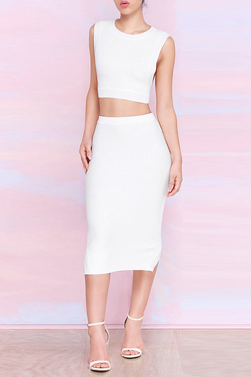 White Back Cut Out Crop Top & Step Hem Midi Skirt Co-ord